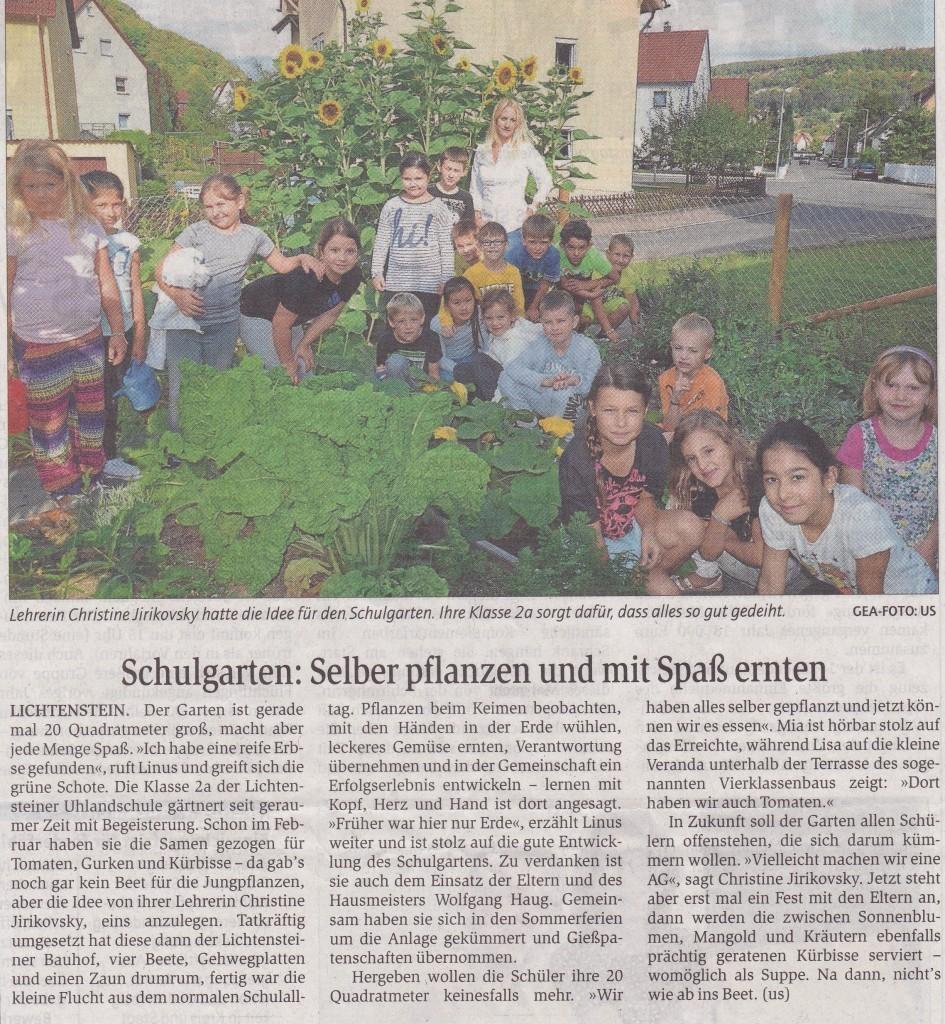 Zeitungsbericht Schulgarten